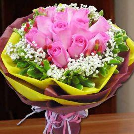 12 Aqua Pink Roses Handbouquet