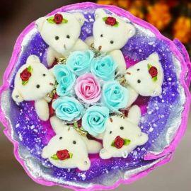 7 Soap Roses & 6 Mini Bears Hand Bouquet