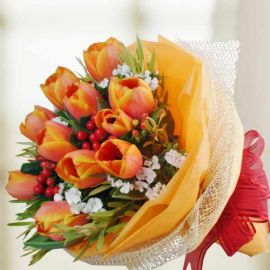10 ( 2 Tone Orange ) Tulips Hand Bouquet
