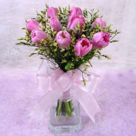 10 Pink Tulips with vase
