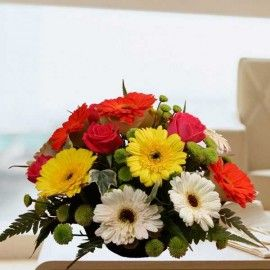 12 Gerberas & 6 Roses Mixed Color Small Table Flowers Arrangemen