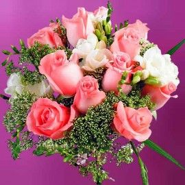 12 Peach Roses With White Freesia Hand Bouquet.