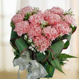 12 Pink Carnations Heart-Shape Table Arrangement in Plastic Cont