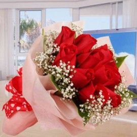12 Red Roses With Baby Breath Posy