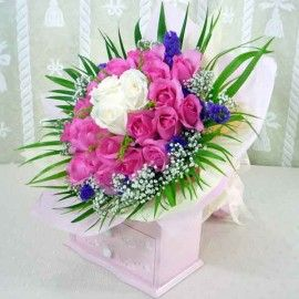 22 Hot Pink & 3 White Roses Hand Bouquet