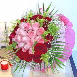 36 Roses ( 18 Peach 18 Red ) Handbouquet