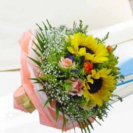 3 Sunflower With 10 Champagne Roses With Babybreath Hand Bouquet