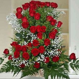 50 Red Roses Basket Table Arrangement