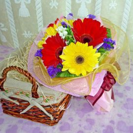 6 Mixed Color Gerberas Handbouquet with Organza Wrapping
