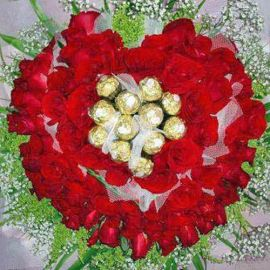 88 Red Roses With 11 Ferrero Rocher Chocolates hand bouquet