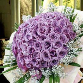 99 Natural Classic Purple Roses Handbouquet