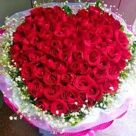 99 Red Roses Handbouquet (Heart Shape)