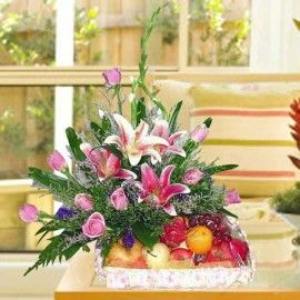 9 Peach Roses with Pink Lily and Fruits Basket Arrangement