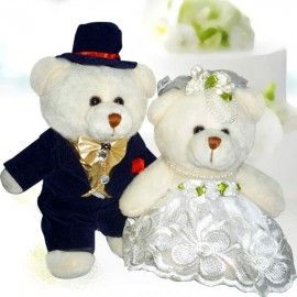 "9"" WEDDING Day Bride & Groom Teddy Bears"