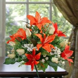 Artificial Orange Lilies centerpiece Table Arrangement delivery