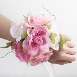 Artificial Pink Roses Wedding Wristlet.
