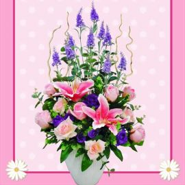 Artificial Pink Lilies & Roses Flowers Table Arrangement Deliver