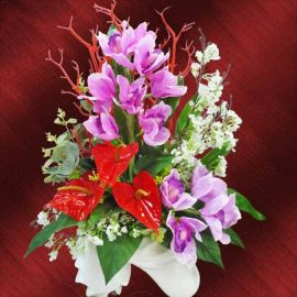 Artificial cymbidium Orchids & Anthurium Table Arrangement