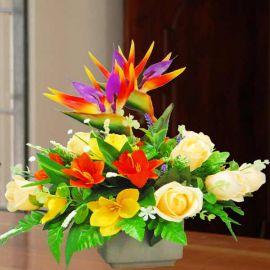 Artificial Champagne Roses Table Flowers Arrangement