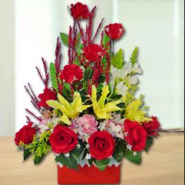 Artificial Yellow lilies & Red Roses Table Arrangement Delivery