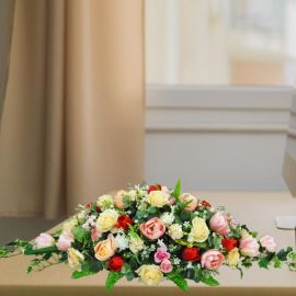 Artificial Roses Long And Low Top Table Arrangement