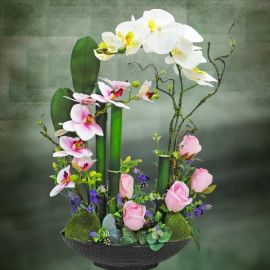 Artificial Phalaenopsis Orchid Table arrangement.