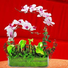 Artificial Phalaenopsis Orchid, Hydrangeas & Lilies Table Flowers Arrangement