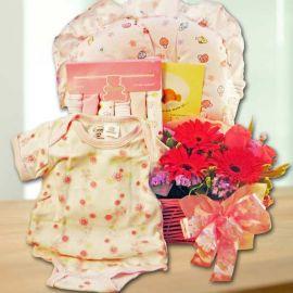 Baby Girl Gift Set & Flowers Arrangement