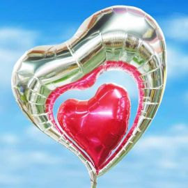 Add-on Helium 30 inches Elegant Double Heart-Shape Balloon