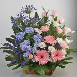 Blue Hydrangeas & Pink Gerbera Table Basket Arrangement. ( One D