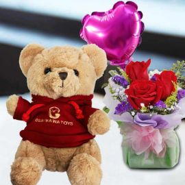 20cm Teddy Bear and a Heart-Shaped Balloon...