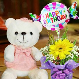 Pink Skirt Bear, Happy Birthday Balloon & Gerbera Standing Bouquet