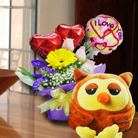 15cm OWL Soft Toy With Roses & 3 Balloons Standing Bouquet.