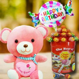 30cm Bear with Lollipop Candies & Happy Birthday Balloon