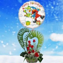 Happy Holidays Elmo Roses Arrangement