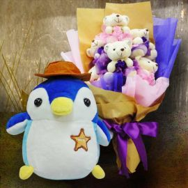 18cm Penguin Stuffed Toy & 6 Mini Bears Bouquet