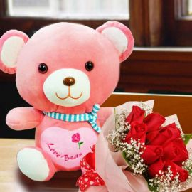 12 Inches Pink Bear with 12 Red Roses Handbouquet