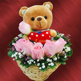 6 Peach Roses Arrangement, An Adorable Bear Sitting On