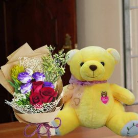 30cm Teddy Bear with 3 Red Roses HandBouquet