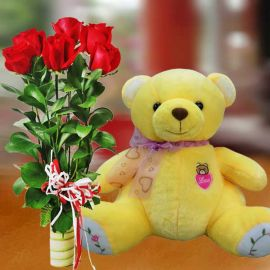 30cm Bear with 6 Red Roses Standing Bouquet
