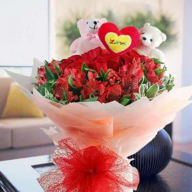 Bears With 12 Red Roses & Astromelia HandBouquet