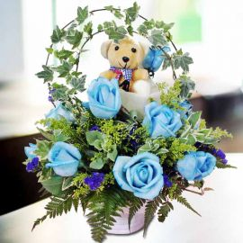 12 Blue Roses Table Arrangement with a Bear