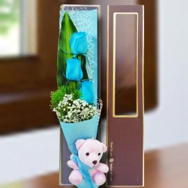 3 Blue Roses & Bear in Gift Box