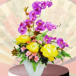 Artificial Phalaenopsis Orchids & Peony Table Arrangement