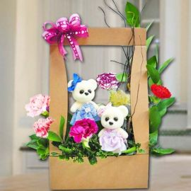 Bears & 6 Mixed Carnation Arrangement in Hard Paper Container