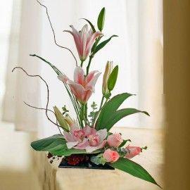 Cymbidium Orchids & Pink Lilies Table Arrangement