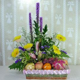 Yellow Gerberas and Pink Lilies with Mixed Fruits Arrangement