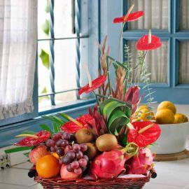Fruits & Red Anthurium Basket Arrangement