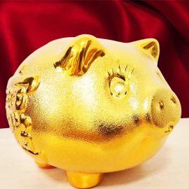 Lucky Feng Shui Gift Golden Pig Piggy Coin Bank