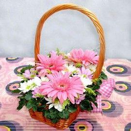 Pink-Tastic Smile Gerbera Daisies Basket